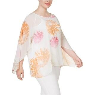 Calvin Klein Womens Plus Pullover Top Chiffon Floral Print - 3x