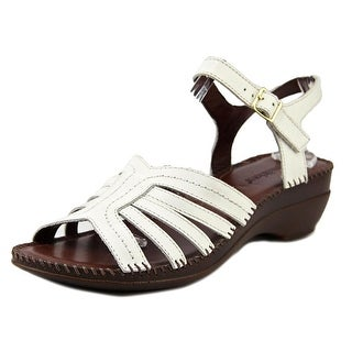 Auditions Rumba Women W Open Toe Leather White Sandals