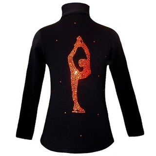 Ice Fire Skate Wear Black Orange Biellmann Spin Skate Jacket Girl 4-20