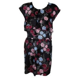 Kensie Black Multi Sleeveless Ruffled Floral Print Peasant Shift Dress M
