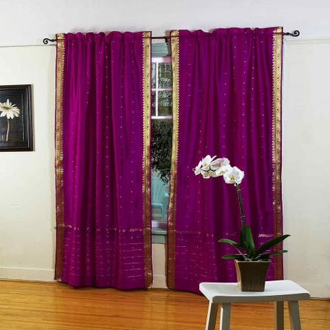 Violet Red 84-inch Rod Pocket Sheer Sari Curtain Panel (India) - Pair - 43 X 84 Inches (109 X 213 Cms)
