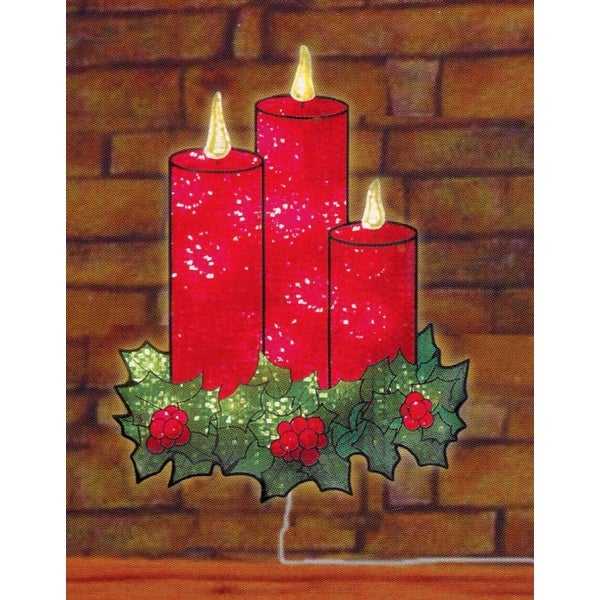 """16"""" Lighted Holographic Candles and Holly Christmas Window Silhouette Decoration"""