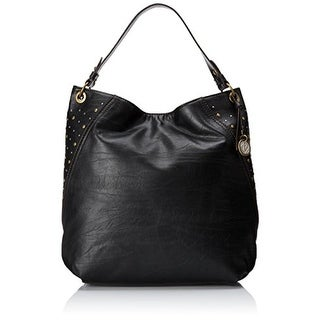 Relic Womens Riley Faux Leather Studded Hobo Handbag - Jet Black - Large