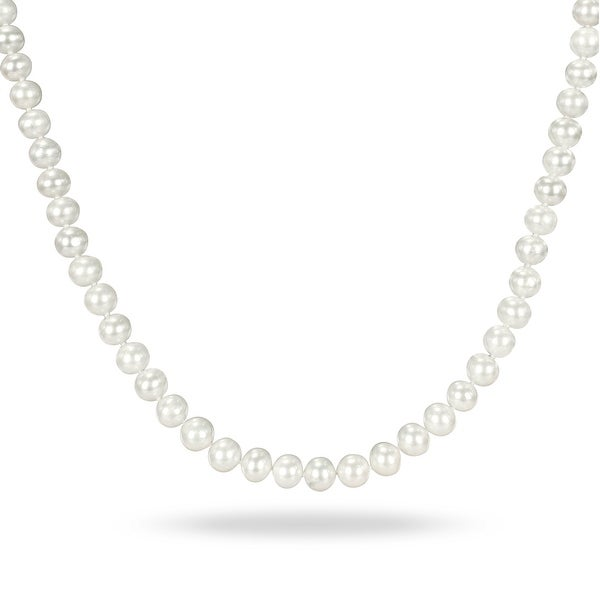 Miadora White Cultured Freshwater Pearl Necklace (6.5-7 mm). Opens flyout.