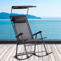 Costway Folding Rocking Chair Rocker Porch Zero Gravity Furniture Sunshade Canopy Black