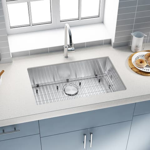 Stainless Steel Single Bowl Undermount Kitchen Sink With Faucet - 30'' x 18'' x 9''