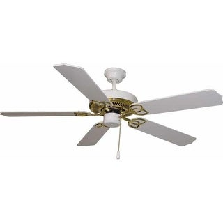 "Volume Lighting V5962 5 Blade 52"" Indoor Ceiling Fan with White / White Wash Pin"