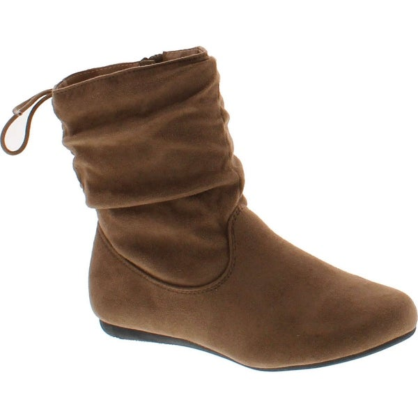 Link Girls Slouch Suede Boots Burgundy,9
