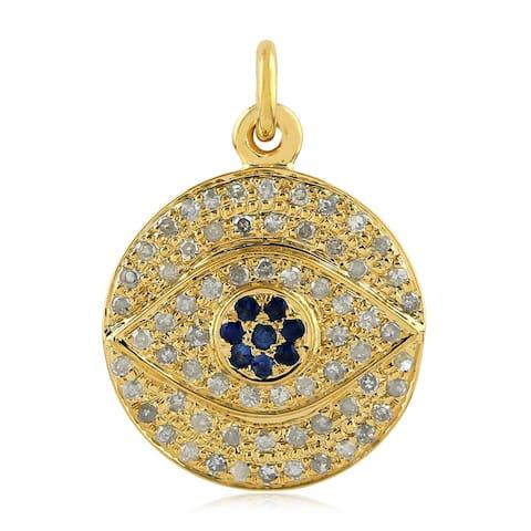 14kt Yellow Gold Diamond Evil Eye Sapphire Pendant Gemstone Jewelry by Artisan Black Friday Sale