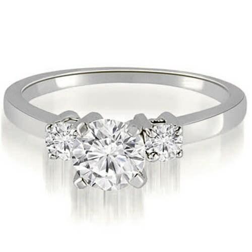 0.90 cttw. 14K White Gold Three-Stone Round Cut Diamond Engagement Ring