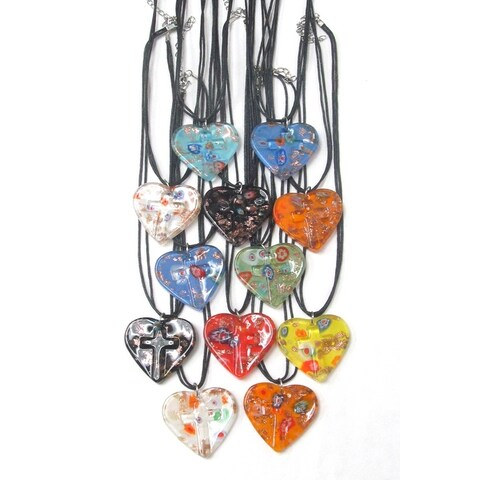 Glass Style Heart and Cross Pendant Necklace