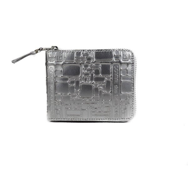Comme de Garcones Silver Metallic Embossed Zipped Bifold Wallet