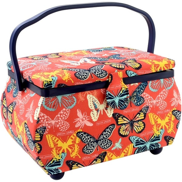 """Sewing Basket Rectangle-12.75""""X7.625""""X7.75"""" Butterflies Print"""