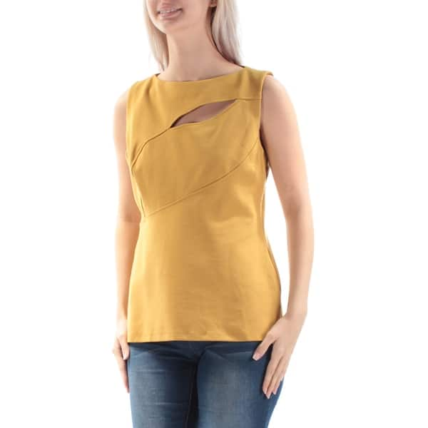9aa2886608abc ANNE KLEIN $89 Womens New 1247 Yellow Cut Out Short Sleeve Boat Neck Top 10  B+B