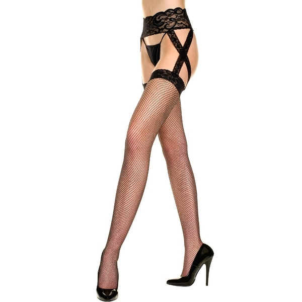 Queen Size Fishnet Stockings With Lace Garterbelt, Thigh High Fishnet Stockings With Garterbelt - One Size Fits Most