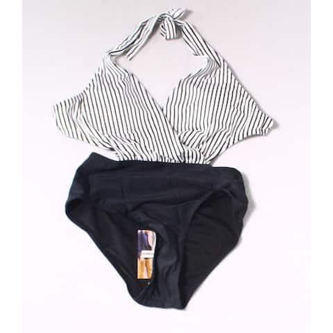 Cocoship Black Womens Size 4 One-Piece Halter Colorblock Swimwear