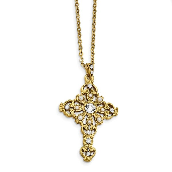 14k Gold IP Crystal Simulated Pearl Cross Necklace - 16in