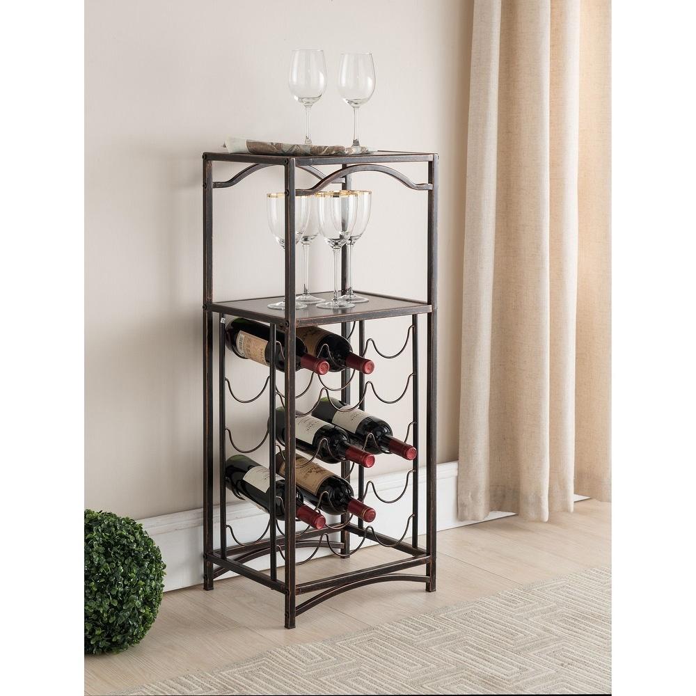 K and B Furniture Co Brushed Copper Metal Storage Wine Rack (Bronze)