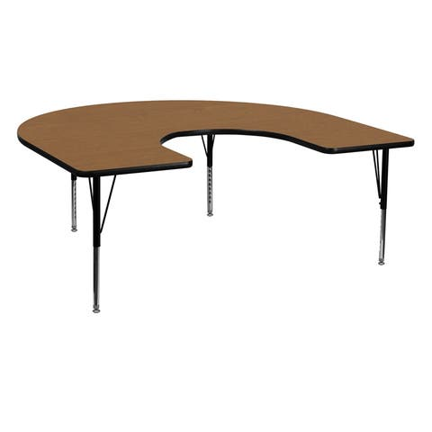 Offex 60''W x 66''L Horseshoe Activity Table with Oak Thermal Fused Laminate Top and Height Adjustable Pre-School Legs - N/A