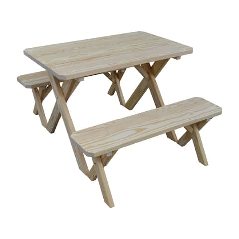 Pine 4' Cross-Leg Picnic Table with 2 Benches