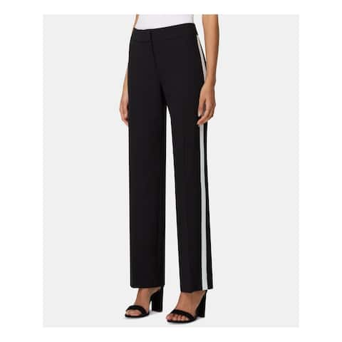 TAHARI Womens Black Striped Straight leg Wear to Work Pants Size 6