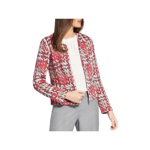 Basler Womens Plus Blazer Plaid Tweed - Pink Multi