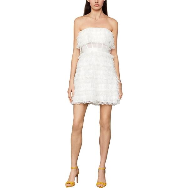 BCBG Max Azria Strapless Fringed Lace Corset Waist Mini Dress - Off White. Opens flyout.