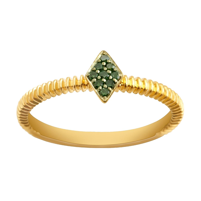 Prism Jewel 0.06Ct Round Green Diamond Stylist Ring - Thumbnail 0