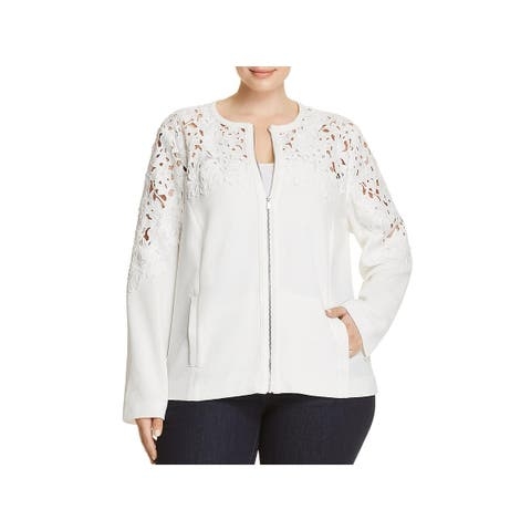 Bagatelle Womens Plus Bomber Jacket Crepe Lace