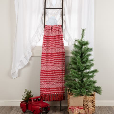 Whimsical Candy Cane Stripe Woven Throw 60x50