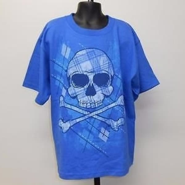 NEW SKULL /& CROSS BONES GRAPHIC TEE YOUTH L LARGE SIZE 10-12 T-SHIRT 67GZ