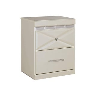 Ashley Furniture B351-92 Dreamur Champagne Two Drawer Night Stand w/ Faux Crystal Knobs