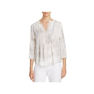 Elie Tahari Womens Tunic Top Silk Metallic Lace Trim (3 options available)