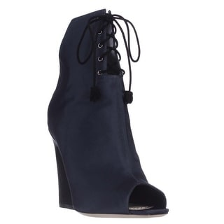 Dior Brooklyn Lace-Up Peep-Toe Ankle Booties - Midnight