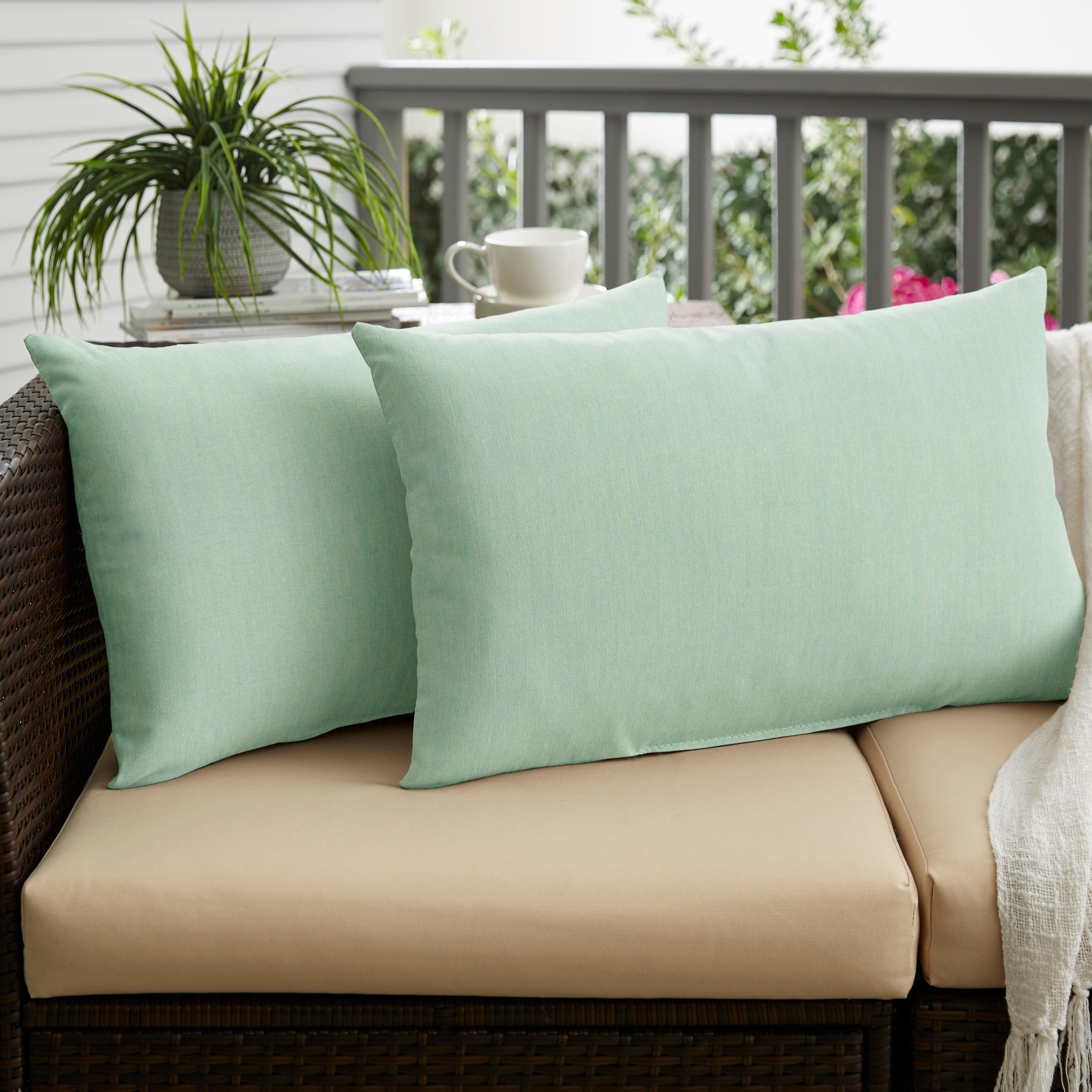 Nyles Sunbrella Spa Blue Indoor Outdoor Knife Edge Lumbar Pillow Set On Sale Overstock 14720053