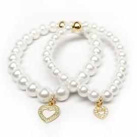 Julieta Jewelry Mom & Daughter Gold Sterling Silver Cross Charm Pearl Bracelet Set