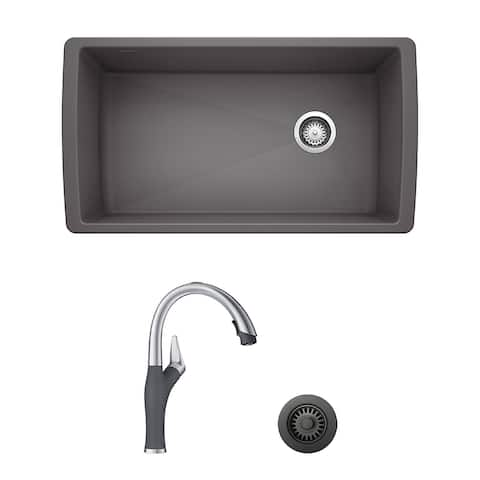 Blanco Diamond/Artona Undermount Kitchen Sink and Faucet Set and Strainer - N/A