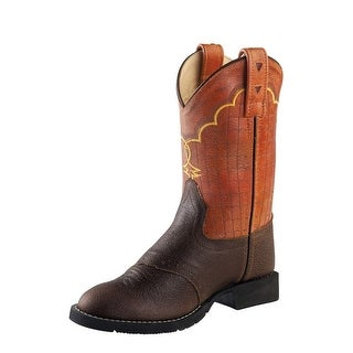Old West Cowboy Boots Boys Girls Kids Stitching Brown Truffle
