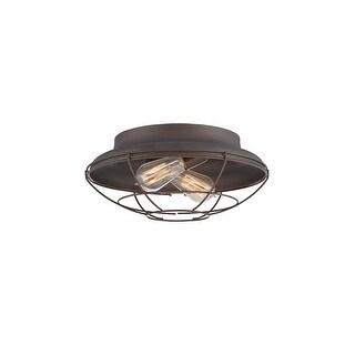 "Millennium Lighting 5384 Neo-Industrial 2 Light 14"" Wide Flush Mount Ceiling Fixture"