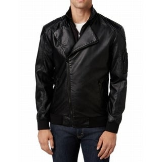 American Rag NEW Black Mens Size XL Faux-Leather Motorcycle Jacket