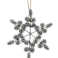 "8"" Winter Light Light Blue Threaded Pine Cone Snowflake Christmas Ornament Decoration"