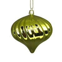 4ct Shiny Green Kiwi Swirl Shatterproof Onion Christmas Ornaments 4""