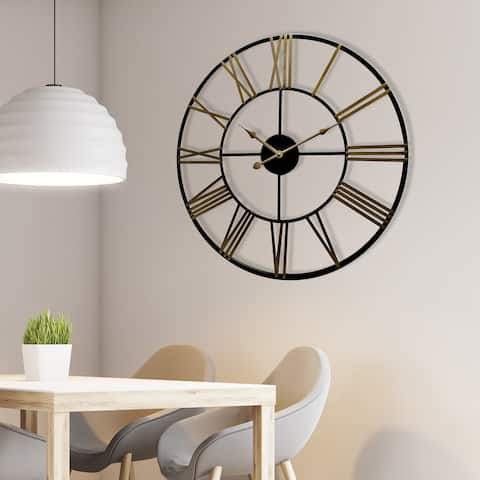"Walplus Rustic Industrial Slim Black Gold Iron Wall Clock 28"" Wall Art"