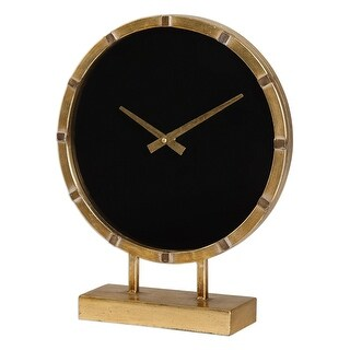 "15"" Sleek and Stylish Antique Gold Leaf Table Clock with Bold Black Face"
