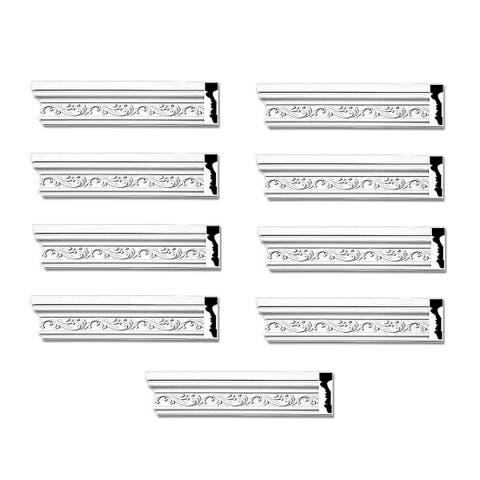 White Urethane Crown Molding Savannah Ornate Pack of 9 Renovators Supply