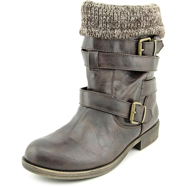 Sugar Intzy Women Round Toe Leather Mid Calf Boot