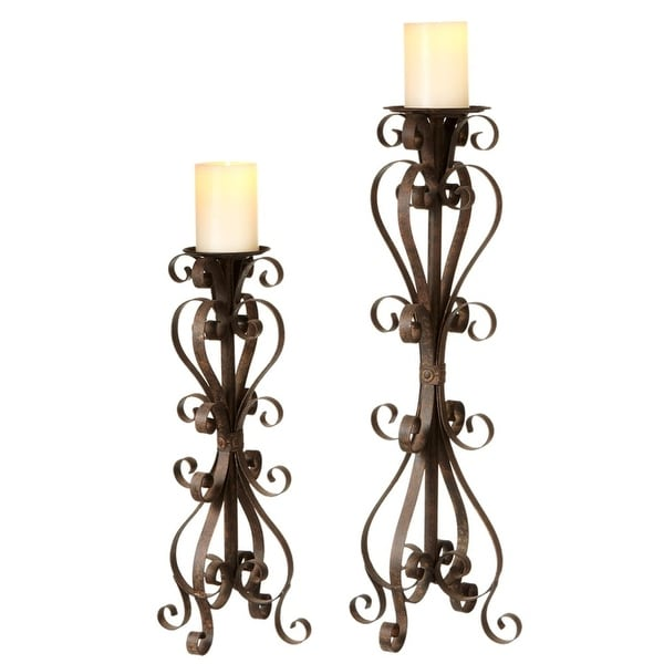"""24"""" Brown Luxury Lodge Antique Style Two Assorted Bronz Scroll Pillar Candle Holders"""