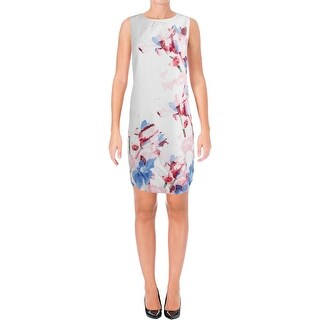 Vince Camuto Womens Petites Cocktail Dress Printed Sleeveless
