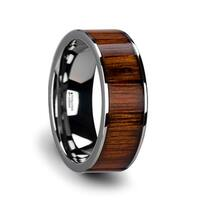 KALANI Flat Tungsten Carbide Wedding Band with Rare Koa Wood Inlay and Polished Edges