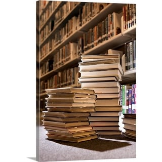 """""""Stacks of books in library"""" Canvas Wall Art"""